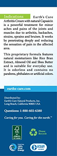 Earth's Care Arthritis Cream 2.4 OZ. / No Parabens,Colors or Fragrances/Not Tested on Animals by Earth's Care (Image #2)