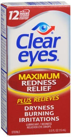 Clear Eyes Maximum Strength Redness Relief, .5 Fluid Ounce ( Value Pack of 6)