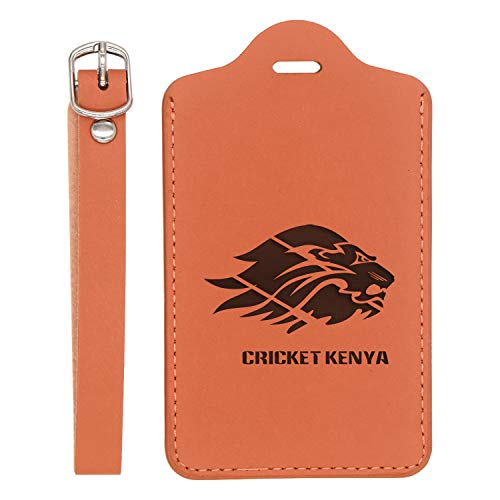 Cricket Kenya Engraved Synthetic Leather Luggage Tag (London Tan) - United States Standard - Handcrafted By Mastercraftsmen - For Any Type Of Luggage ()