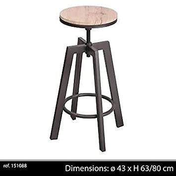 life deco tabouret chaise de bar ajustable en hauteur design rglable loft industriel contemporain bois metal - Tabouret De Bar Metal Industriel