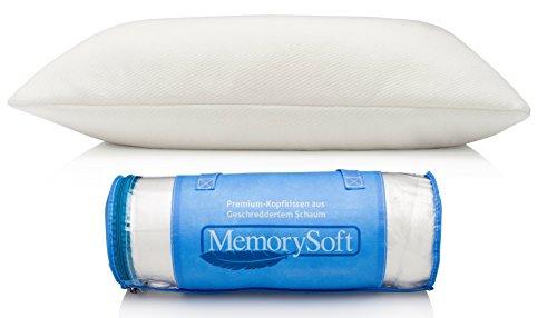 Premium Memory Foam Pillow By MemorySoft, Shredded Memory Foam With Thin...