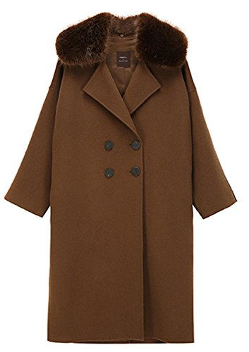 Front Row [FRONTROW x REJINA pyo] Women's Color Block Hand-Made Pure (Brown Blanket Chore Coat)