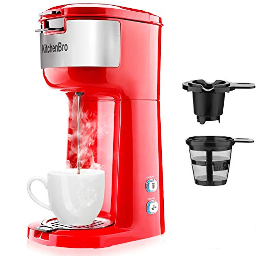Single Serve Coffee Maker for K-Cup Pod & Ground Coffee, Small Size Coffee Machine,Fast brewing,Strength Control and Self Cleaning Function by KitchenBro