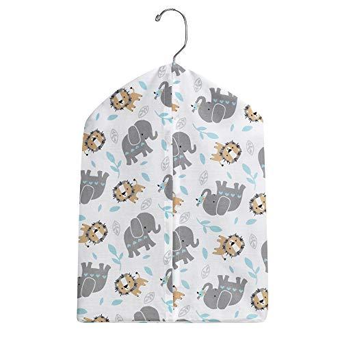 - Bedtime Originals Jungle Fun Gray/Blue Elephant and Lion Diaper Stacker