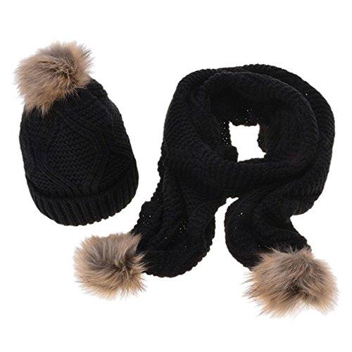 Combination Ragazza e Pattern Set inverno nero Rombo Sciarpa pompon Bonnet Donna maglia Acvip Soft caldo con lavorato a wpHgIg