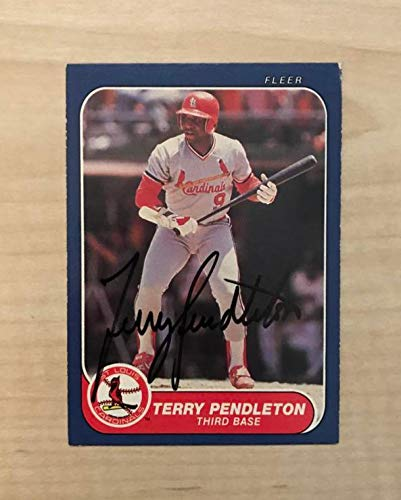 - TERRY PENDLETON ST. LOUIS CARDINALS SIGNED AUTOGRAPHED 1986 FLEER CARD #44 W/COA