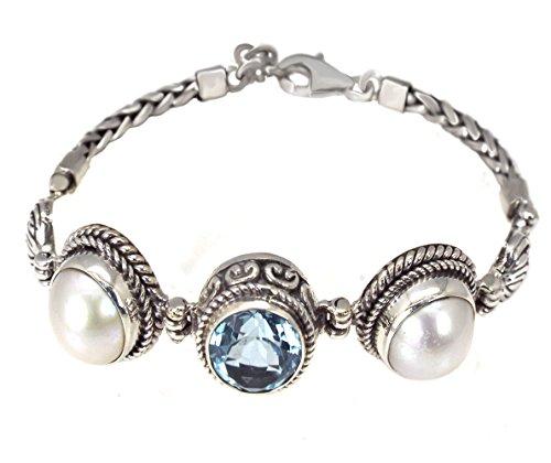 Bali Indonesia Filigree Round Blue Simulated Aquamarine Mabe Pearl Bracelet Round Mabe Pearl