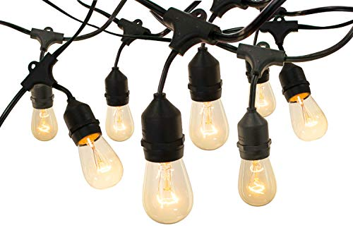 EST. LEE DISPLAY L D 1902 Outdoor String Lights Hanging Black Cord Vintage Edison Light Bulbs Waterproof Dimmable Lamps Canopy Patio Lawn String Lighting (50, 18IN) ()