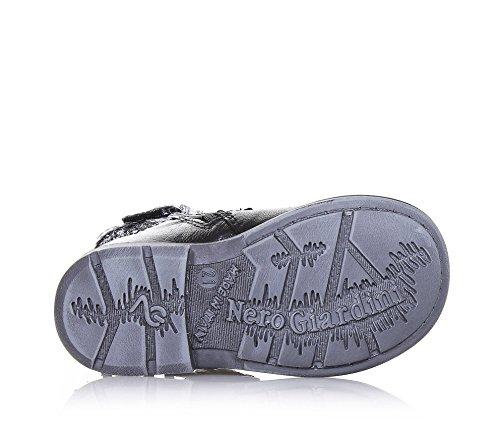 NERO GIARDINI - Bottine noire en cuir et paillettes, glissière latérale, boucle décorative, frange décorative sur la jambière, coutures visibles et semelle en caoutchouc, Fille, Filles