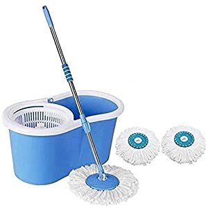 ashley Stainless Steel Spin Bucket Mop with 3 Micro Fibre Refills Combo (Medium, Blue -Colour As Per Availability)