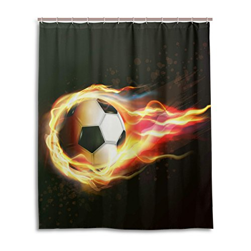Ethel Ernest Flying Soccer Football On Fire Waterproof Bath Curtain 100% Polyester Fabric Home Decorative Bathroom Shower Curtain 60 x 72 inch by Ethel Ernest