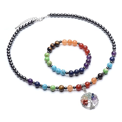 Top Plaza 7 Chakra Reiki Healing Crystals Natural Gemstone Beads Hematite Black Metal Magnetic Therapy Elastic Bracelets Necklaces ()