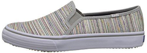 Keds Women's Double Decker Woven Metallic Slip-On Sneaker, Gray, 10 M US