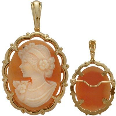 Fancy 14 Karat Yellow Gold Cornelian Shell Cameo Pendant and or Brooch with 18