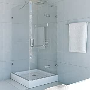 VIGO Monteray 32 x 32-in. Frameless Shower Enclosure with .375-in. Clear Glass and Chrome Hardware (Shower Base Included)
