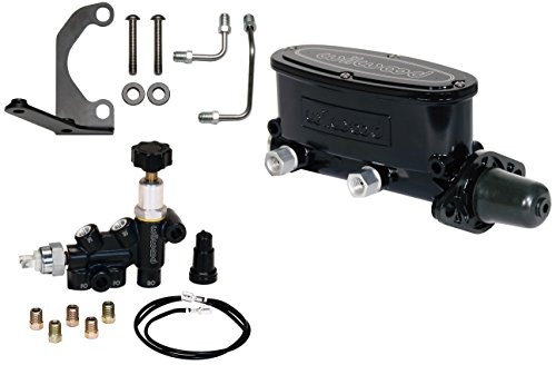 NEW WILWOOD BLACK ALUMINUM TANDEM CHAMBER MASTER CYLINDER WITH ADJUSTABLE COMBINATION PROPORTIONING VALVE, MOUNTING BRACKET, & LINES, DUAL OUTLET CYLINDER, 1 1/8