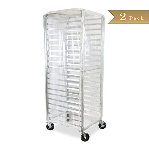 Set of 2 - TrueCraftware - Durable Clear Plastic Cover for 20 Tier Commercial Kitchen Bun Pan Sheet Rack - 28 x 23 x 61 - Heavy Duty Plastic Sheet Pan Rack Cover with Zippers Bun Pan Rack Cover