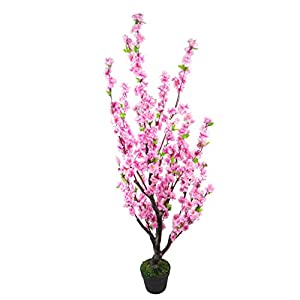 Leaf Design UK Realistic Artificial Blossom Tree-Potted-Silk Flowers, 120cm Pink Cherry 119