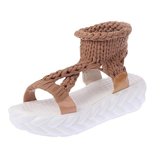Toe ohne Peep Damen Slingback Durchgängiges Binying Verschluss Strick Sandalen Plateau qfEA1Unw
