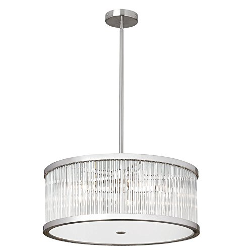 (Dainolite 5 Light Pendant with Crystal Rods Satin Chrome Finish, new)