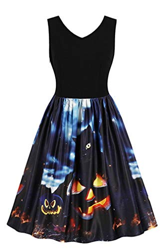 Kimring Women's Halloween Vintage Retro V-Neck Sleeveless 3D Digital Print Party Midi Swing Tank Dress Black/Jack-O'-Lantern XX-Large