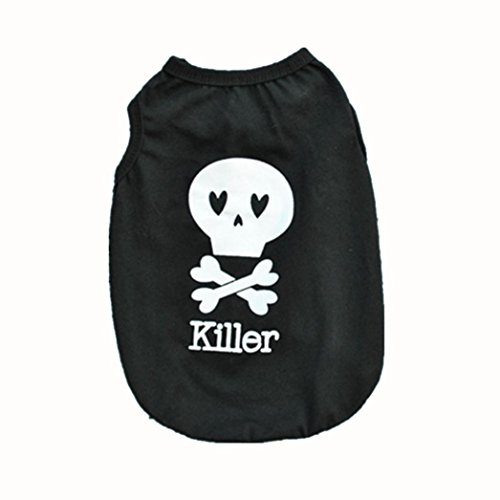 2017 Hot Pet Vest! AMA(TM) Pet Puppy Small Dog Clothes Chihuahua Cotton Skull Killer Printed Vest T-Shirt Doggy Summer Apparel Costume (S, (Doggy Clothes)