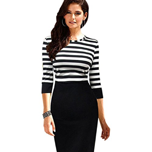 Malloom Women Lady Splice Slim Striped Bodycon Formal Occasion Pencil Dress
