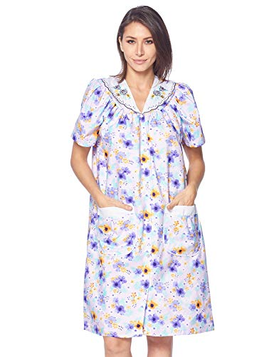 - Casual Nights Women's Snap Front House Dress Short Sleeve Woven Housecoat Duster Lounger Robe, Floral Purple, Small