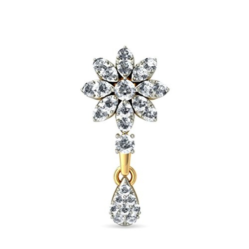 14 K Or jaune 0,91 carat au total White-diamond (IJ | SI) Pendants d'oreilles