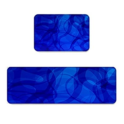 Prime Leader 2 Piece Non-Slip Kitchen Mat Runner Rug Set Doormat Modern Art Abstract Blue Background Door Mats Rubber Backing Carpet Indoor Floor Mat