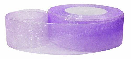 Hipgirl 50 Yard 1.5 Inch Shimmer Sheer Organza Ribbon For Gift Package Wrapping, Hair Bow Clips & Accessories Making, Crafting, Wedding, Boy Girl Baby Shower, Decorating, Parties, Tying Favors-Purple (Yds Lavender Organza Sheer Ribbon)