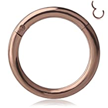 Rimi 1pc 8mm 18g 316L Steel Nose Hoop Ring Earring Hinged Clicker Seamless Segment Helix Daith Cartilage Lip Piercing Rosegold