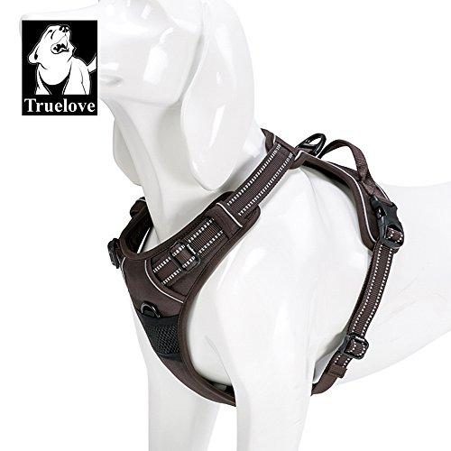 No-Pull Dog Harness Reflective Pup Vest Harnesses Comfortable Control Brilliant Colors Truelove TLH5651(Brown,L) ()