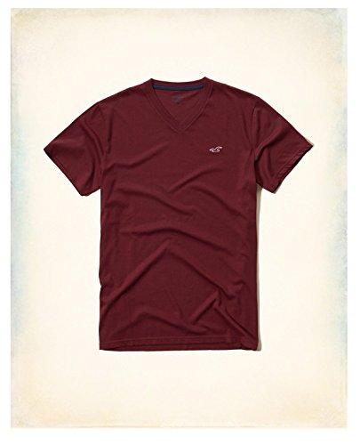 hollister-hco-logo-mens-striple-and-plain-t-shirt-tee-s-burgundy-2-plain