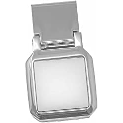 Square Silver Stainless Steel Hinged Money Clip