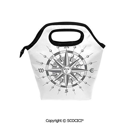 Lightweight Portable Picnic tote lunch Bags Hand Drawn Compass with the Face of the Sun on Directions North South East West Sailing Decorative lunch bag for Employee student Worker. -