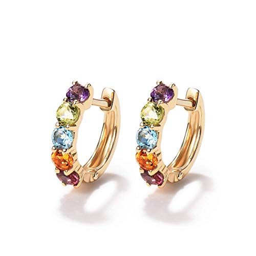 FANCIME 14K Solid Yellow Gold 0.77cttw Multi Colored Amethyst Peridot Topaz Citrine Garnet Hinged Huggie Cartilage Tiny/Small Hoop Earrings Dainty Delicate Fine Jewelry For Women Girls Diameter 12mm
