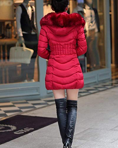 Donna Manica Mode Di Cappuccio Con Elegante Burgunder Fashion In Pelliccia Calda Autunno Collo Confortevole Lunga Trapuntato Invernali Lunghi Sintetica Trapuntata Piumino Giacca Rot Cappotto Marca K1uJTlc3F
