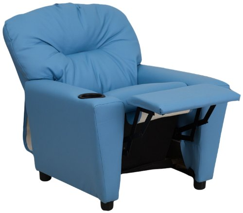 Flash Furniture Kids Recliner in Light Blue with Cup Holder BT-7950-KID-LTBLUE-GG