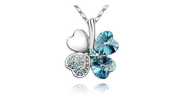 38070d80cb155 Amazon.com: Four Leaf Clover Heart Shaped Swarovski Elements Crystal ...