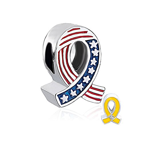 - QueenCharms Patriot Bead Two Sided US Army Yellow Ribbon and USA National Flag Charm for Bracelets