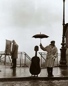 Lámina 'Músico bajo la lluvia', de Robert Doisneau, Tamaño: 24 x 30 cm