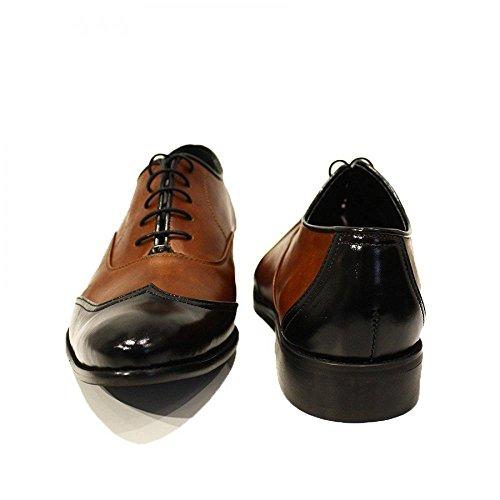 Modello Gaetano - Handgemachtes Italienisch Leder Herren Braun Wing Tip Schuhe Abendschuhe Oxfords - Rindsleder Weiches Leder - Schnüren