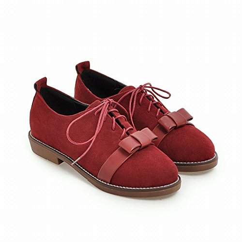 Latasa Womens Bow Lace Up Flat Oxford Shoes Red E3hxmfDKx