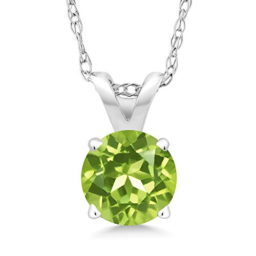 Gem Stone King 0.50 Ct Round Green Peridot 14K White Gold Pendant With Chain