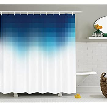 Digital Square Grid Lined Edgy Mosaic Motifs Pixel Effects Artprint Home Polyester Fabric Bathroom Shower Curtain Set With Hooks Dark Blue White