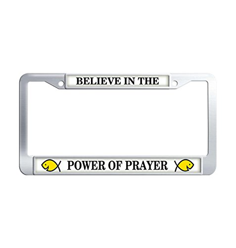 FuKongCase Believe In The Power Of Prayer Stainless Steel License Plate Frames, Metal Jesus Fish Car Plate Frame Cover with 2 Screws and Caps -