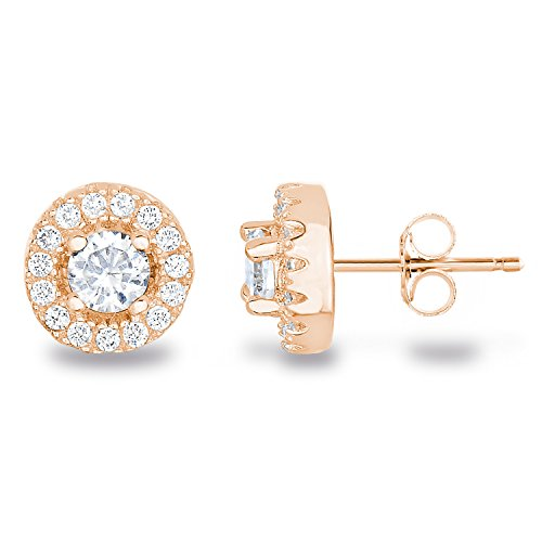 Cross Baguette Set - 925 Sterling Silver AAA CZ Simulated Diamond Classic Halo Stud Earrings Size 4mm Main Stone