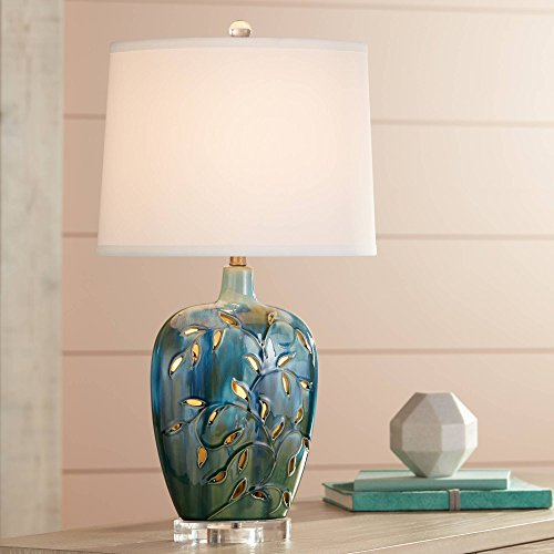 - Devan Cottage Table Lamp with Nightlight Ceramic Blue Vine Handcrafted Oval Fabric Shade for Living Room Family Bedroom - 360 Lighting