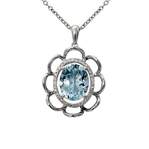 Hutang Pierre précieuse massif Or blanc 18ct véritable diamant et 2.2CT aigue-marine Pendentifs et colliers pour femme fine Diamond-jewelry